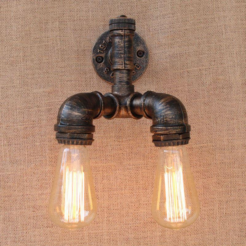 Retro Vintage Steampunk Pipe Wall Light With Edison Bulb Led Bulb Lights For Bedroom Bathroom