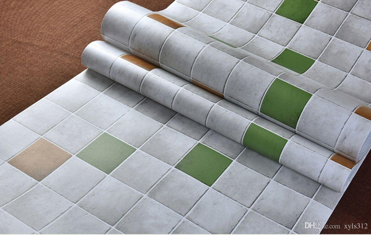 blue Thick self-adhesive mosaic wallpaper anti-oil paste kitchen high temperature anti-oil easy to scrub toilet tiles stickers waterp