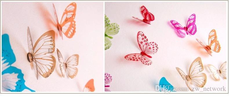 Adesivi murali farfalla 3d Cenerentola Adesivi murali farfalla 3D farfalla Adesivi murali rimovibili in PVC Farfalle In stock 18 pezzi / borsa 77