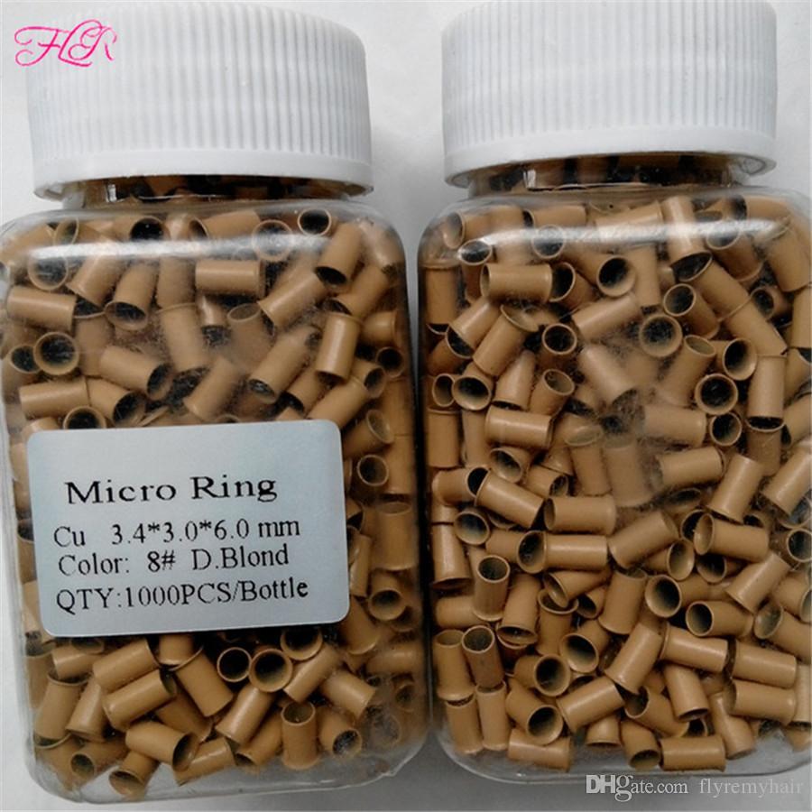Vente chaude 3.4 * 3.0 * 6.0mm Haute qualité Micro cuivre Anneau / Perles Outil Pour I Astuce Extensions De Cheveux 8 couleurs En Option / bouteille