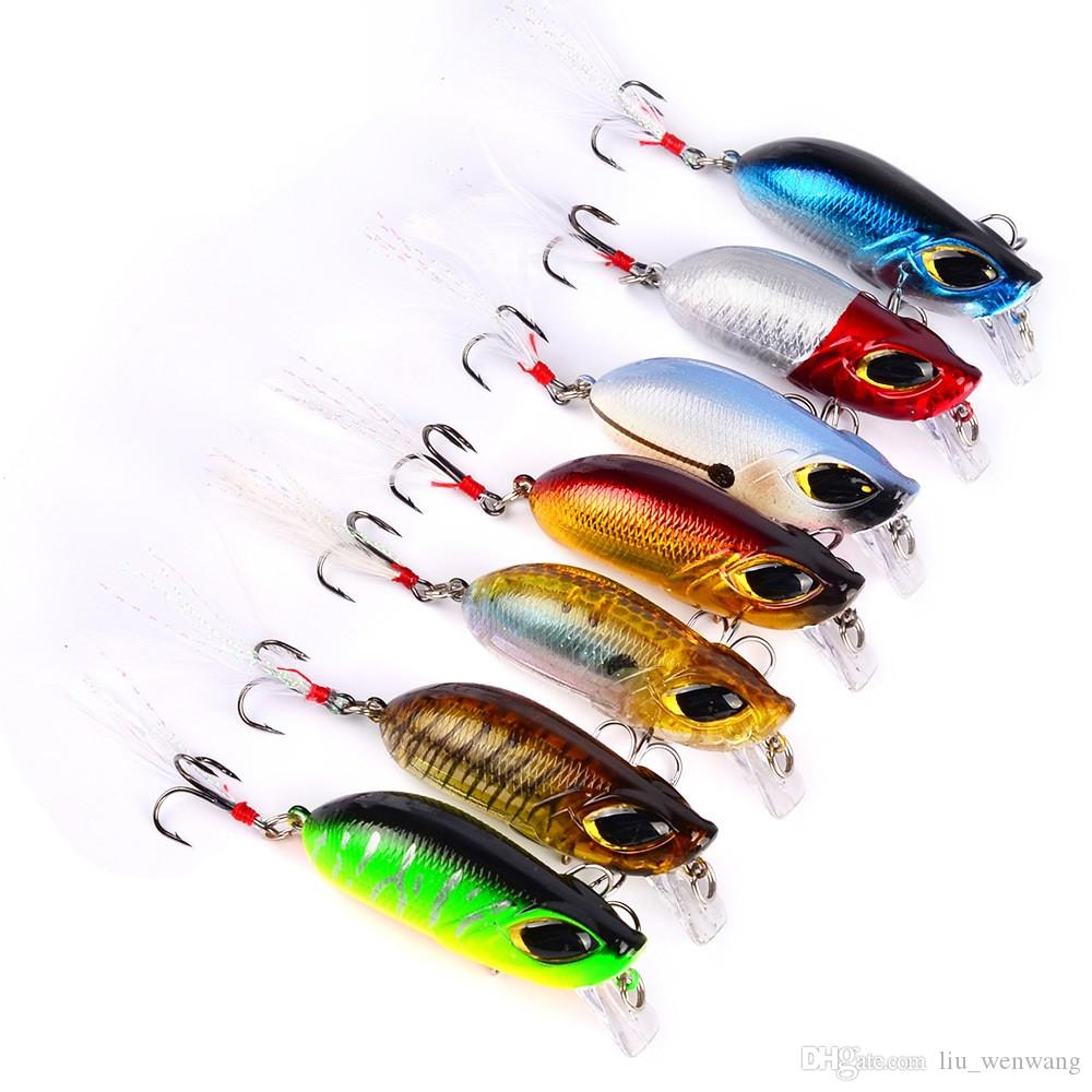 7-farbige 5,5 cm 8,26g Hartplastikköder Angelhaken Angelhaken 3D Augen Fischköder 8 # Haken Künstliche Köder Pesca Angelzubehör