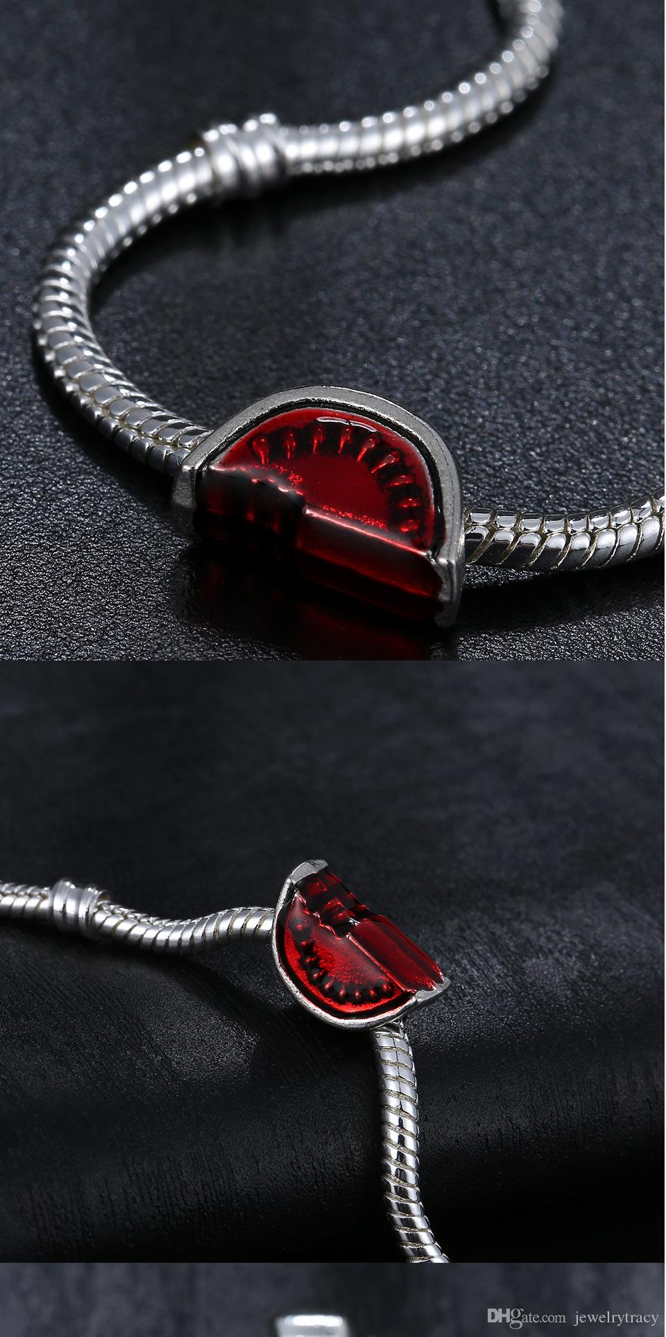 Perles de pastèque rouge perle de charme avec émail pour bijoux européens Pandora Bracelets Colliers Pendentifs Perles en alliage