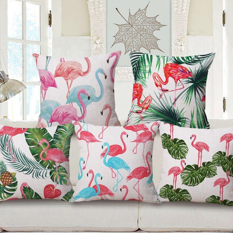 Satın Al Suluboya Boyama Kuş Flamingo Minder Kapakları Yaz Bitkiler