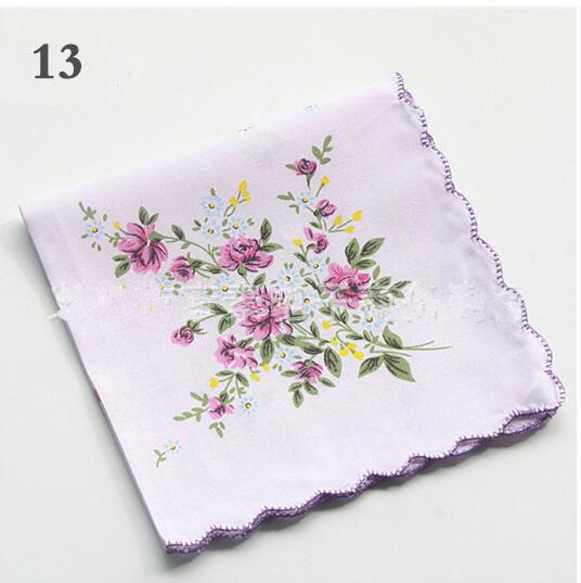Hot 100% Cotton Handkerchief Cutter Ladies Handkerchief Craft Vintage Hanky Floral Wedding Party Handkerchief Support 30*30cm Random