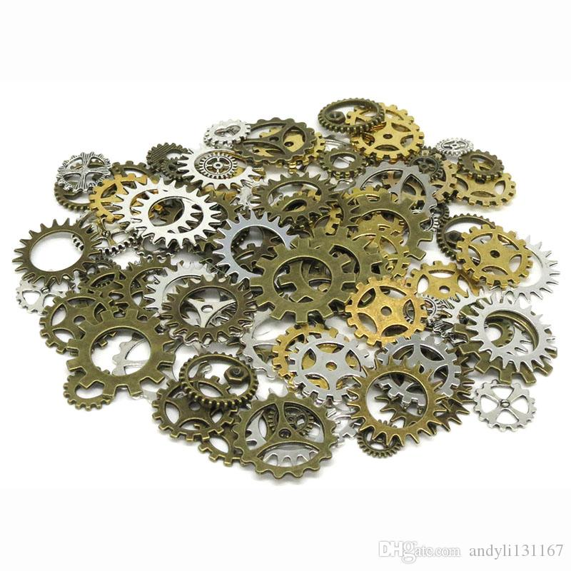 Wholesale Gold silver vintage bronze Mix retro steampunk gears jewelry charms pendant steampunk gears for DIY necklace