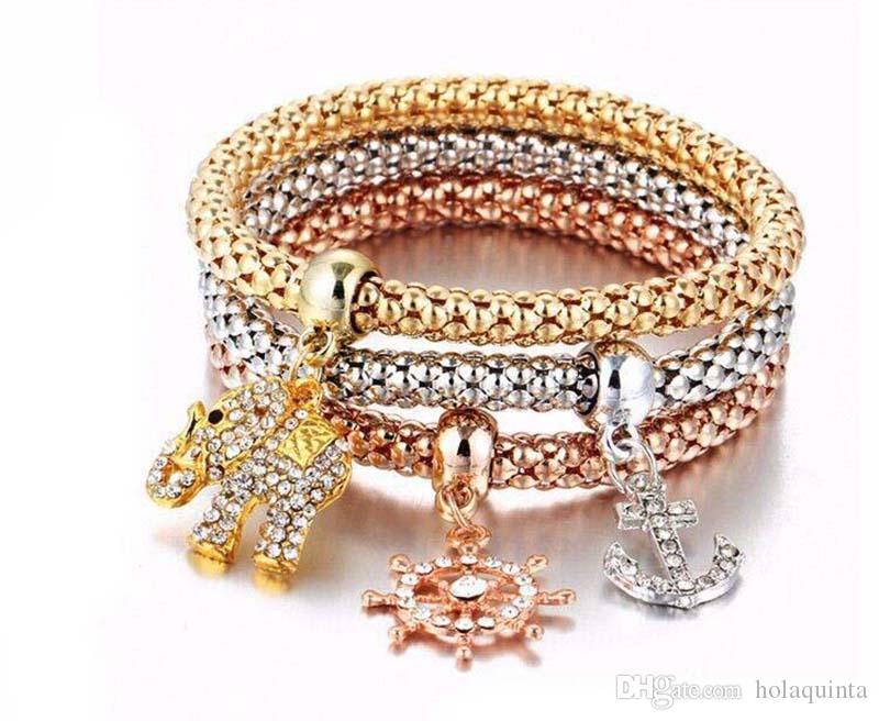 3 unids / set pulseras del encanto de la vendimia pulseras de cadena de palomitas brazaletes de la corona de oro rosa lleno de cristal lleno de regalos de Navidad