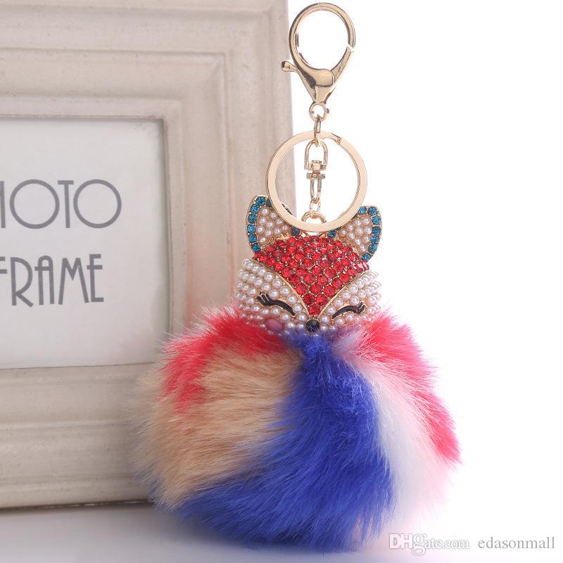 귀여운 동물 pompom 키 링 쥬얼리 여성 모피 공 라인 석 히스 체인 가방 자동차 열쇠 고리 푹신 푹신 홀더 파티 선물 Kimter-B763S A