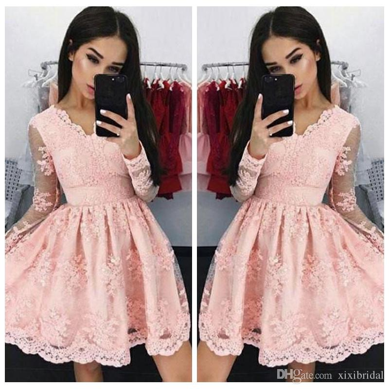 86b30edcf2a8 Pink Vintage V Neck Short Cocktail Dresses 2018 Sheer Long Sleeves Full Lace  Formal Cheap A Line Homecoming Dress Prom Gown Gold Sequin Cocktail Dress  Green ...