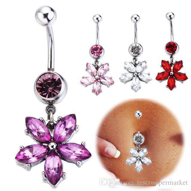 Sıcak Satış Mücevher karışık farklı tasarımlar Belly Button Yüzükler 316L Paslanmaz Çelik Göbek Piercing Dangle Belly Yüzükler Vücut Takı Hediye 8 adet