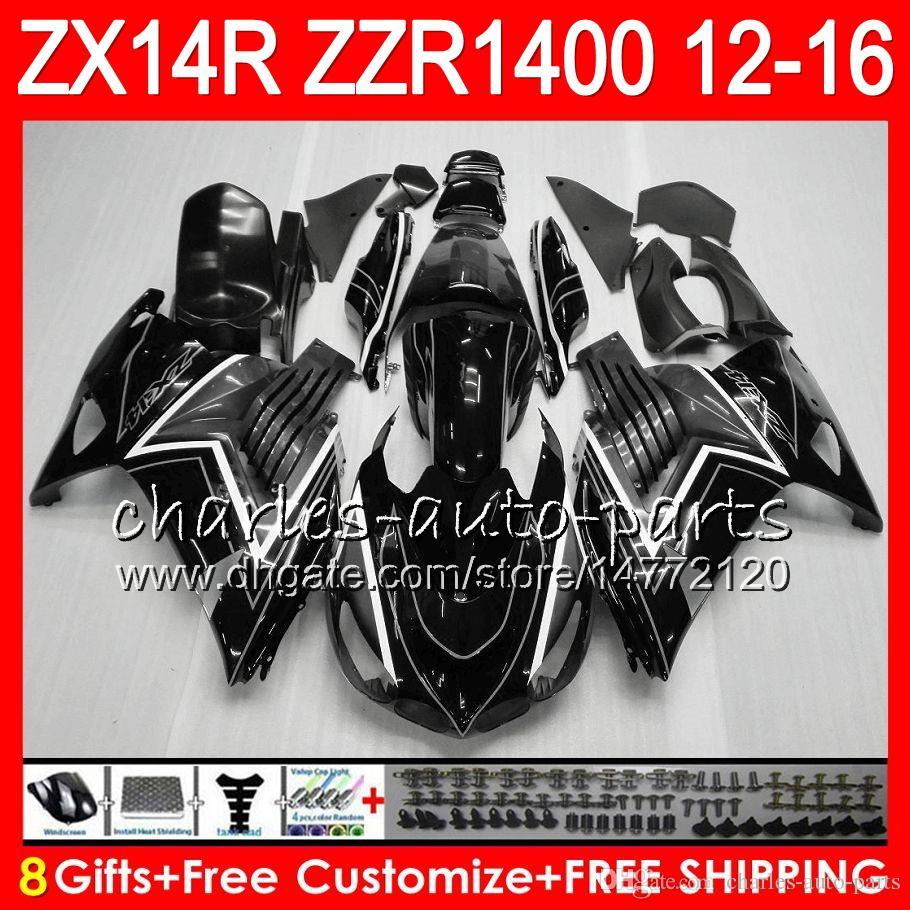Carrocería para KAWASAKI NINJA ZZR1400 14 R ZX14R 12 13 14 15 16 64NO12 Gris negro ZZR 1400 ZX-14R ZX 14R 2012 2013 2014 2015 2016 kit de carenado