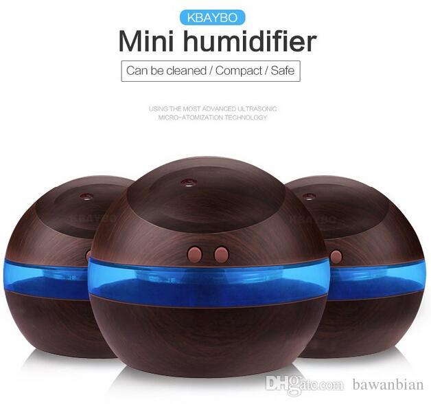 Atacado 300ml USB ultra-sônico Umidificador Aroma Difusor Difusor fabricante de neblina com frete LED azul claro gratuito