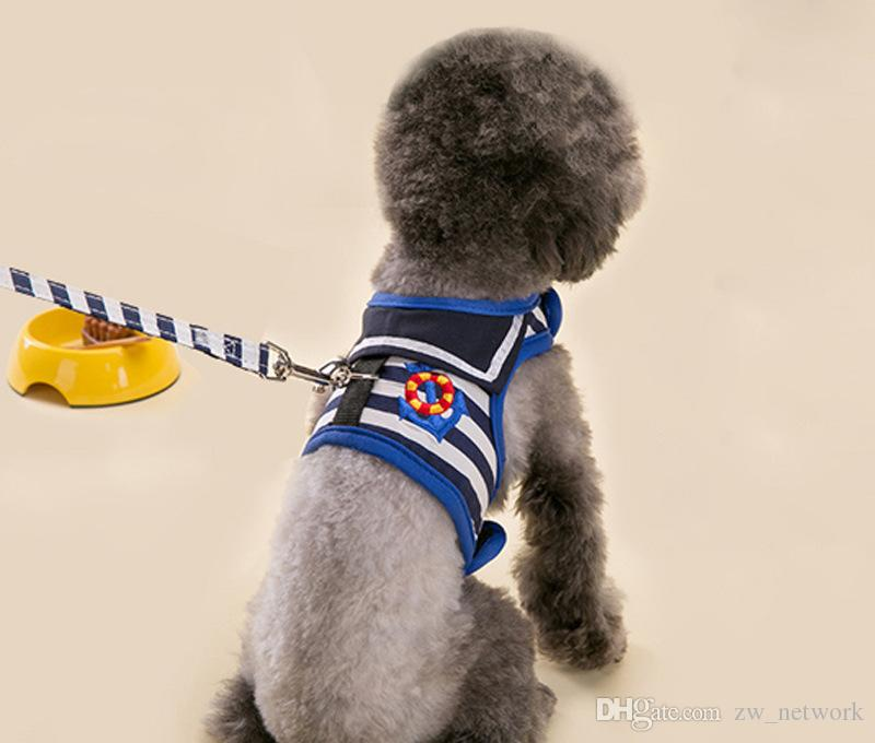 뜨거운 판매 개 견인 로프 가슴 스트랩 해군 스타일 선원 조끼 개 체인 테디 소형 개 로프 애완 동물 용품