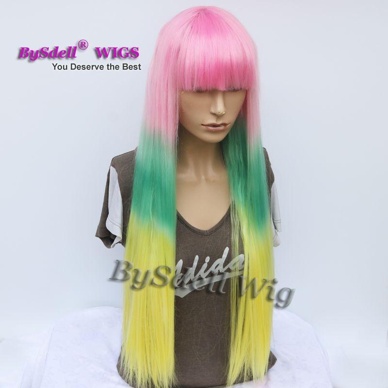 Harajuku Pastel Ombre Rainbow Couleur Perruque Synthétique Longue Soie Droite Rose Ombre Vert Jaune Couleur Perruques avec Frange Soignée Pas Cher Perruques