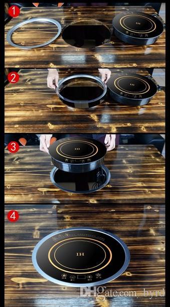 288mm Hotpot cuisinière à induction rond intégré commercial restaurant avec double usage bureau intégré anneau en acier interrupteur tactile 220 V 2000W