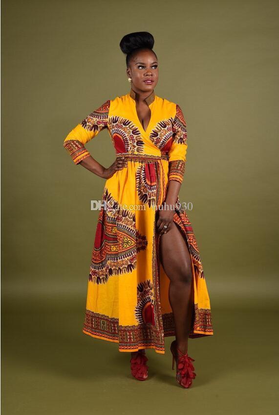 2017 Fashion Women Cloak African Print Dress Casual