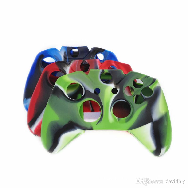 Xbox One Denetleyici Koruma Kılıfı için Kamuflaj Kauçuk Silikon Saplı Koruyucu Kol