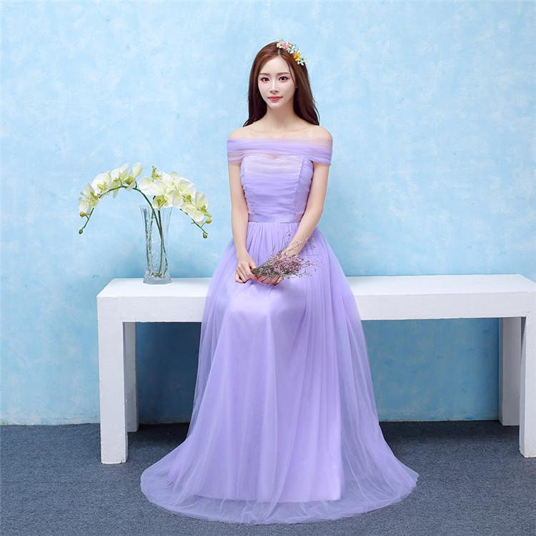 A Line Long Satin/Tulle Short Sleeves Off Shoulder Prom Lavender ...