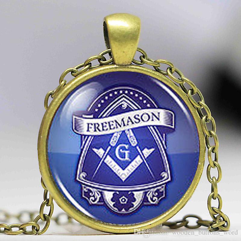 Masonic Free Mason Freemason Illuminati Necklace fashion Jewelry Glass  Picture Pendant chain man womens steampunk necklace charm