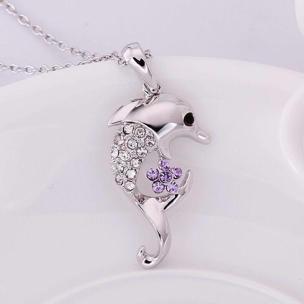Dolphin Pendant Necklace Gold Platinum Rose Gold Plated Dolphin Necklace Fashion Crystal Jewelry Best Gift for Women Girls