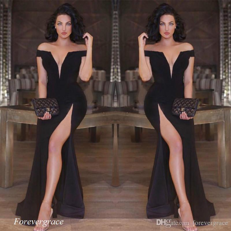 2017 Black Colour Prom Dress Mermaid Off Shoulder Long High Split Women Wear  Special Occasion Dress Party Gown Custom Made Plus Size Canada 2019 From ... ba63febcb