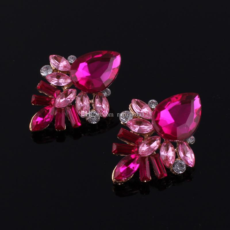 Fashion Alloy Gem Earrings Handmade Rhinestone sweet stud crystal Geometric Water Drop Dangle earrings DHL