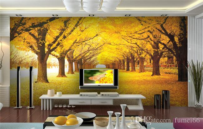 Özel 3D Duvar Duvar Kağıdı Peyzaj Doğal Sonbahar Manzara Sarı Ormanlar Yükü Kapalı Yapraklar Duvar Kağıdı Oturma Odası Için