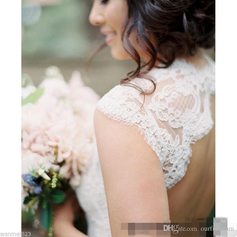 2019 modeste dos ouvert plein robes de mariée en dentelle col en V balayage train pays robe de mariée vente chaude gaine