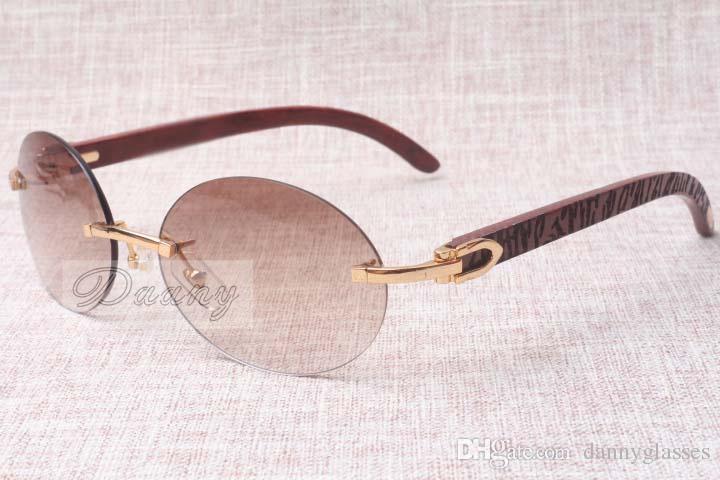 Lunettes de soleil rétro de mode ronde haut de gamme 8100903 Sunglasses de miroir en bois naturel à carreaux Sunglasses de la meilleure qualité Taille: 58-18-135mm