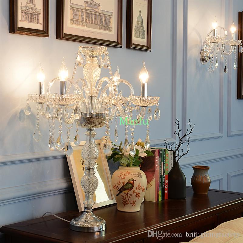 Lesen Lichtschalter Kandelaber Tischlampe Schlafzimmer Luxus Kristall Tischlampen LED Tischlampe Dressing Licht Hotel Wohnzimmer Stehleuchte