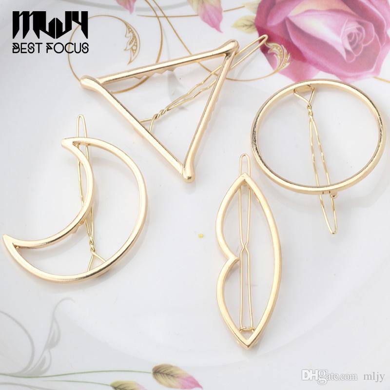 MLJY 2016 New Brand Hairpins Triangle Moon Hair Pin Jewelry Lip Round Hair Clip For Women Barrettes Head Accessories