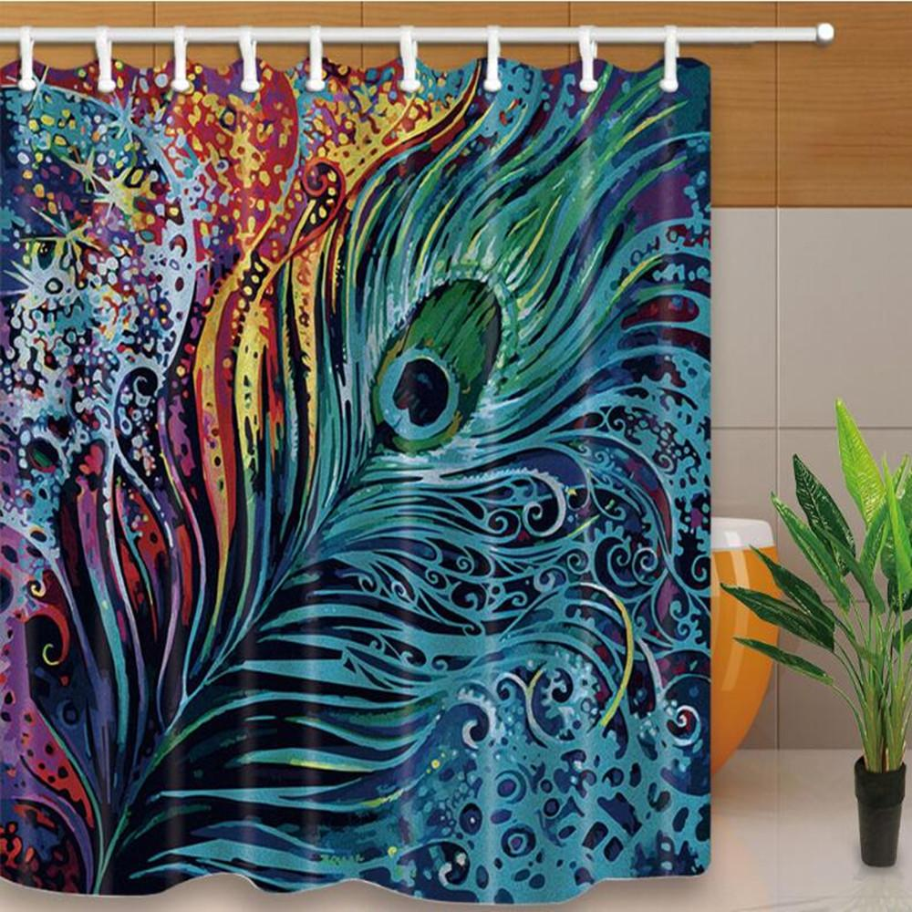 2018 New Peacock Feather Shower Curtains 180*180cm Home Decoration ...