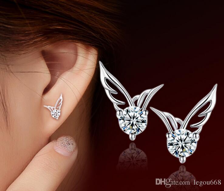 Nueva joyería de plata de color de Wome Alas de ángel Pendientes de botón de cristal Brillante CZ Zircon Joyería Brincos femme G533