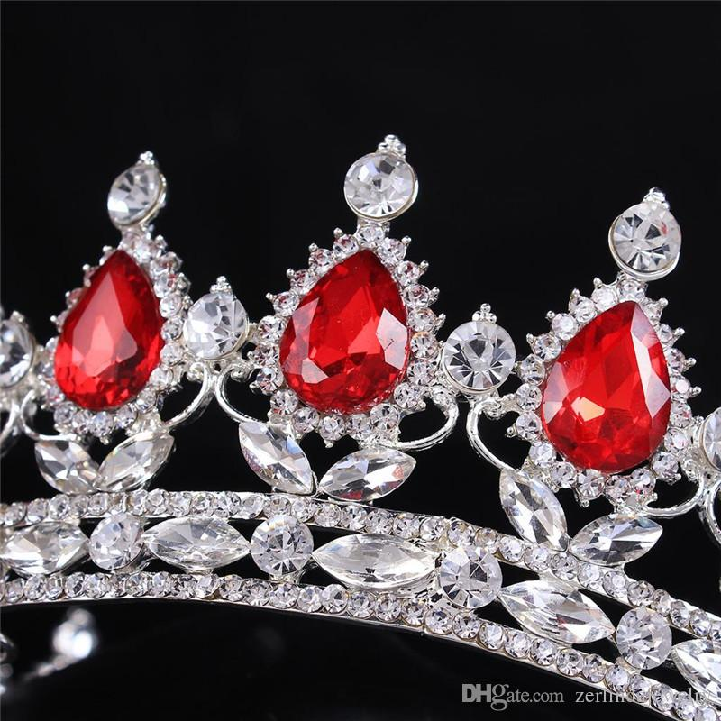 Hot sale New Fashion Elegant Pink Crystal Rhinestone Bridal crown classic Silver Plated Tiaras for Women Wedding hair jewelry accessories