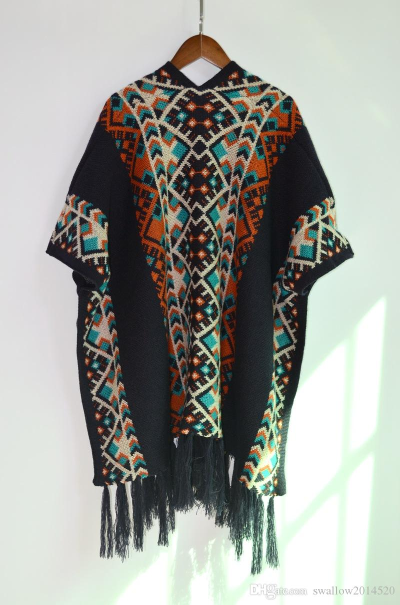 Jaquard Poncho Femmes Tassel Blouse Tricoté Manteau Pull Vintage Wraps Écharpes En Tricot Tartan Hiver Cape Ethnique Châle Cardigan Cloak