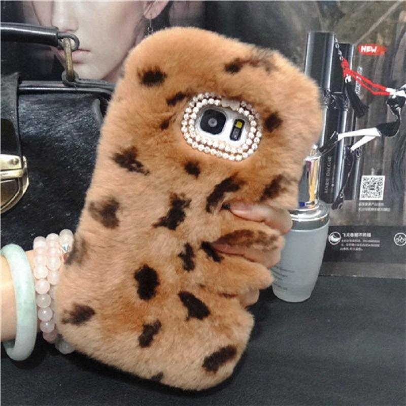 Top Rex Rabbit Fuzzy Hair Phone Case For LG G2 G3 G4 G5 G6 V10 V20 V30 Fluffy Hair capas para Cute Rhinestone Luxury Phone Fundas Cover Caja