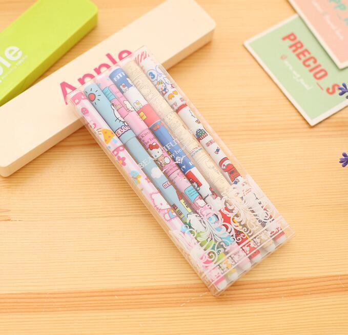 6 pz / set / lotto forniture ufficio scuola hotsale kawaii cancelleria coreana colorato penne gel inchiostro set carino cartoni animati penne firma forniture la scrittura