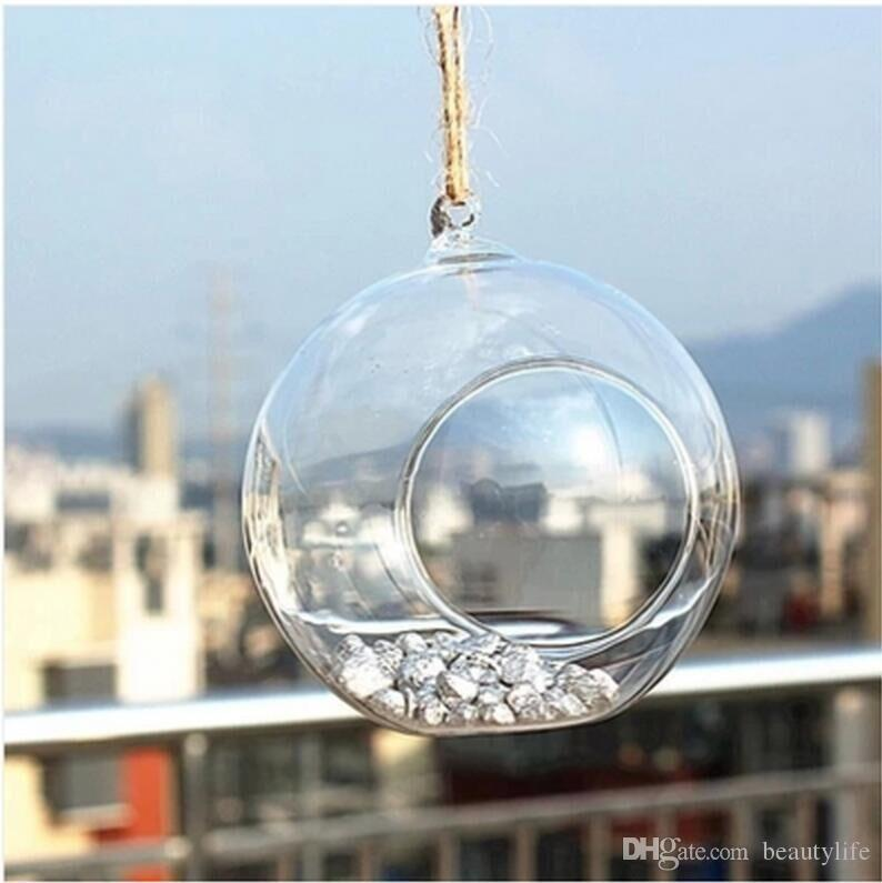 Hanging glass candlestick glass ball candle holder wedding home decoration can be placed electronic candle glass candlestick 8cm 10cm 12cm