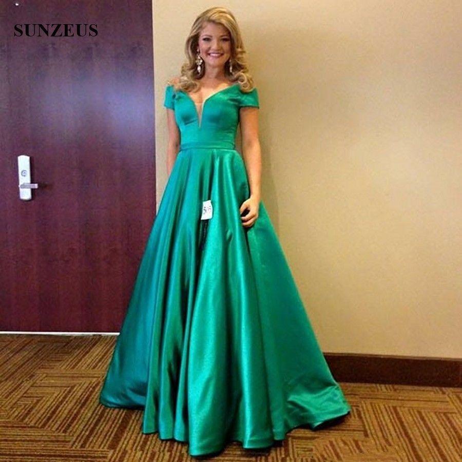 Vestido De Cetim Emerald Green Evening Dress Sexy V Neck Off ...