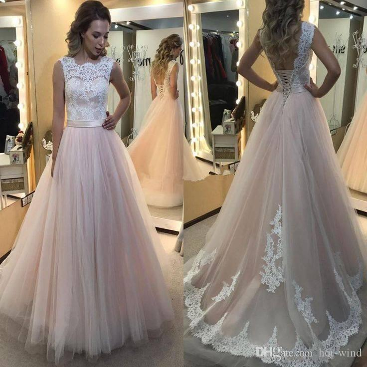 Discount Elegant Blush Wedding Dresses 2017 Lace Top A Line Tulle Long Bridal Gowns Corset Back Vintage Summer Beach Cheap Gown