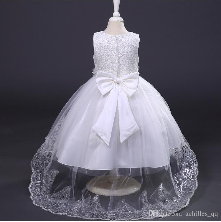 2017 Summer Style 3-10 Year Princess Dress For Girls Flowe lace baby dresses kids Sleevelesss Flora Costume Teenager Clothes