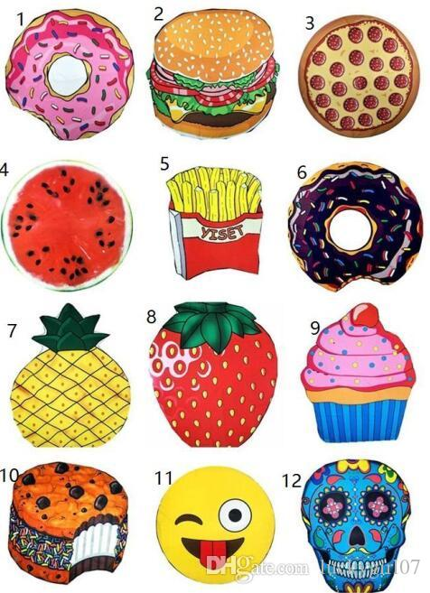 Hot New 13 Designs Round Beach Towel Pizza Hamburger Skull Ice Cream  Strawberry Smiley Emoji Pineapple Watermelon Shower Towel Blanket Shawl  Purple Towels ... 595000f3c7