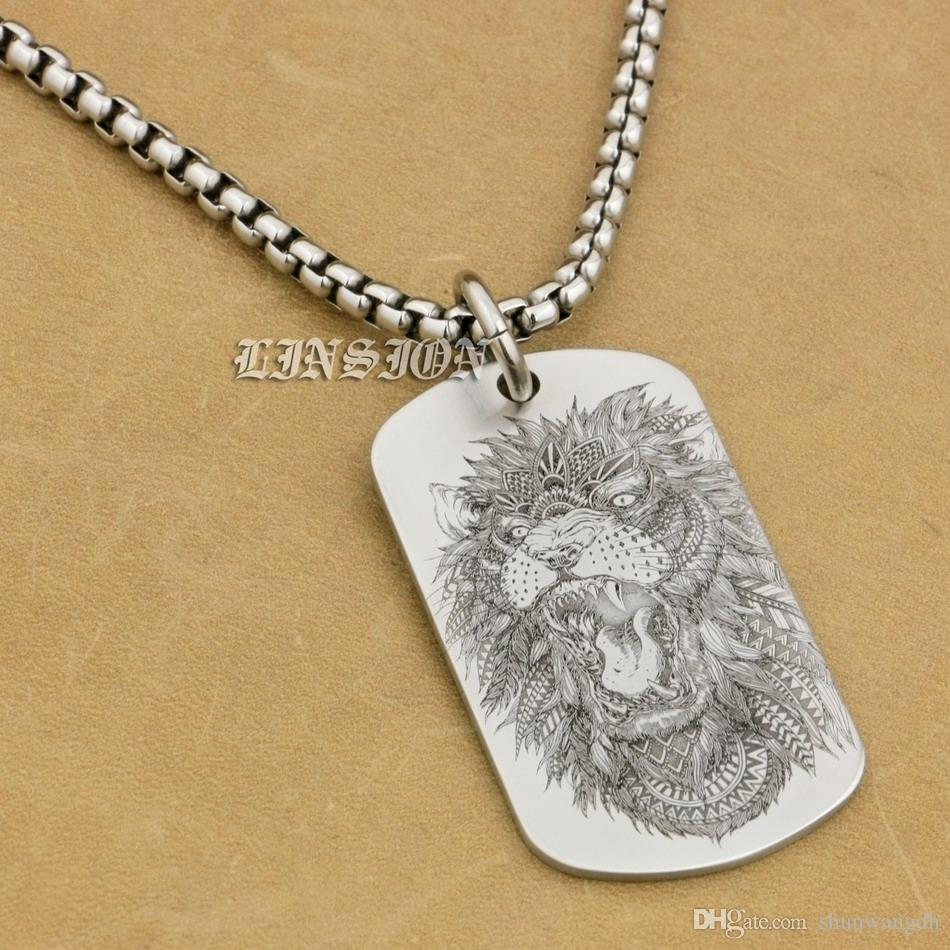 LINSION Acciaio inossidabile 316L High Detail Laser Deep Engraved Angry Lion Mens Biker Rocker Punk Pendente Dogtag 9X110 Collana 24 pollici