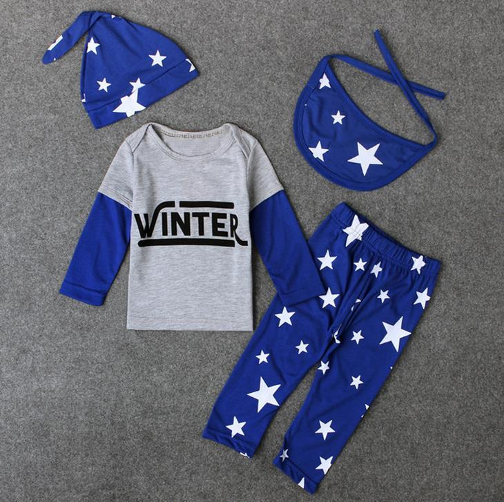 Hot Europe Ins Infant Baby Boys Set Stars Clothing Outfits Kids Letters Long Sleeve Tops Tshirt + Pants + Hat + Bib Children Suits