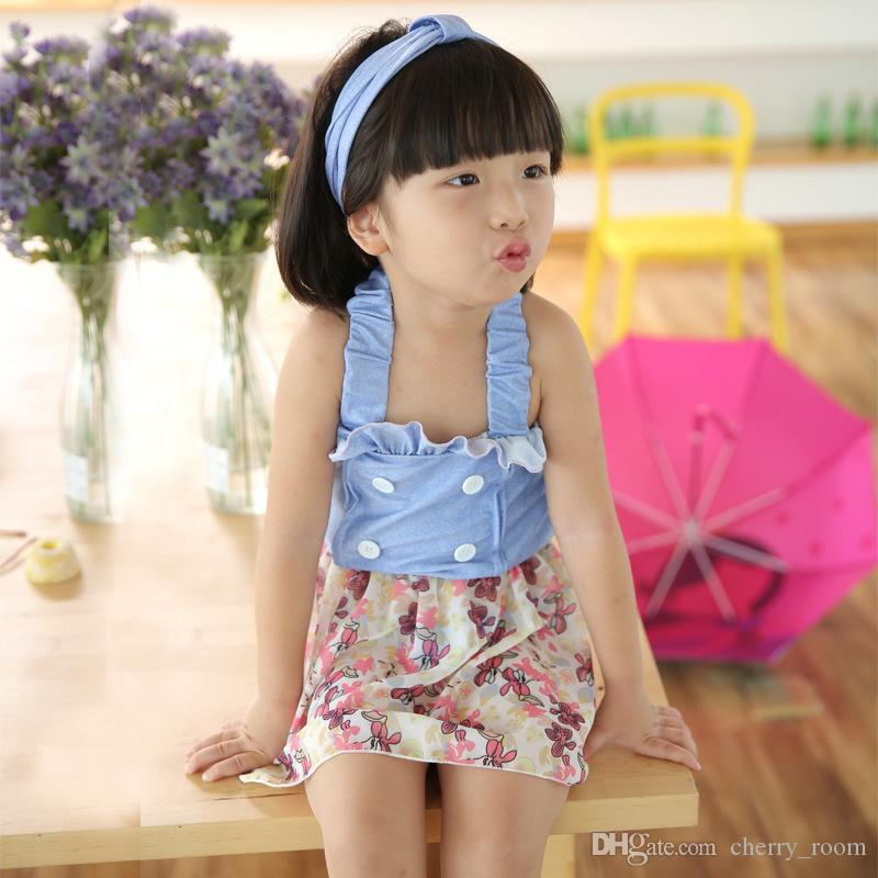 f3c6e775aee Korean Girls Swim Suits Floral Two-Pieces With Headband Sets Cute ...