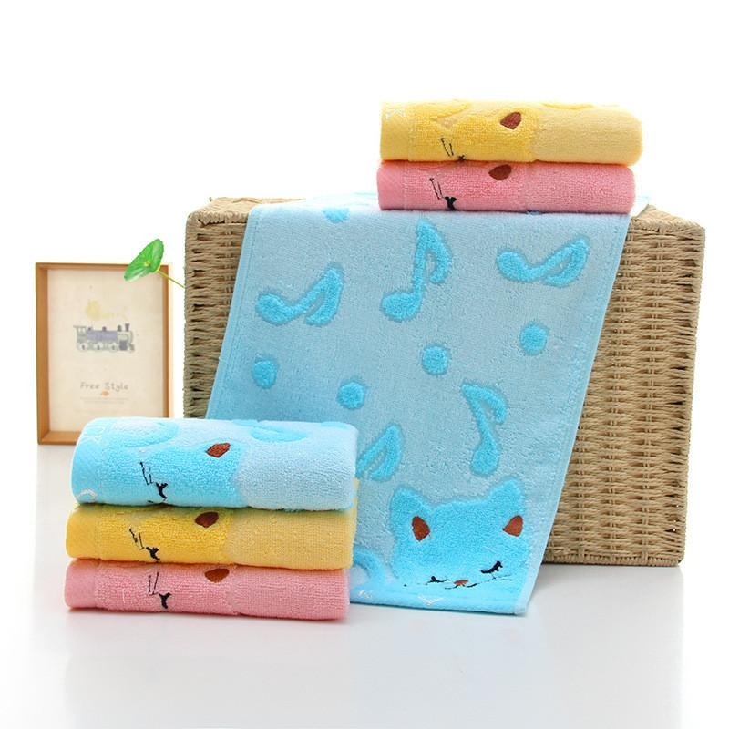 Cartoon Bamboo Fiber Kids Face Bathing Shower Towel 25x50cm Musical Cat Design Children Hand Towel Strong Water Absorbing