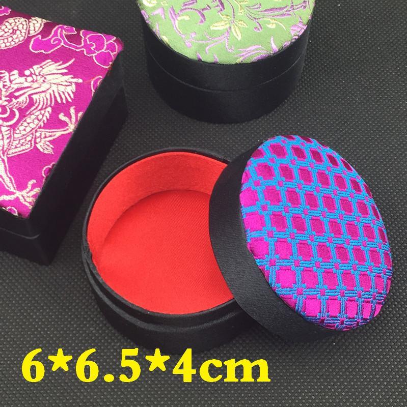 Handwerk Bloemen Kleine Sieraden Gift Doos Doek Verpakking Zijde Brocade Kartonnen Ketting Ring Oorbel Stud Storage Case /