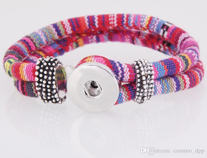 Nuevos NOOSA colores jengibre snap pulseras del encanto 18mm para mujer cuerda trenzada botón a presión brazalete pulsera Pulsera para la moda DIY joyería