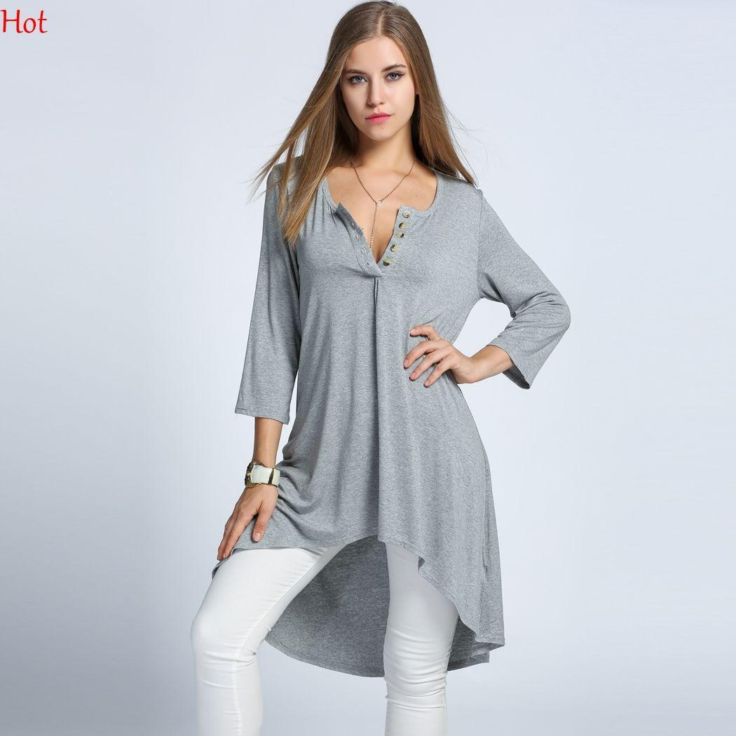 f1303bc887 Womens Loose Dress O-Neck 3 4 Sleeve High Low Asymmetrical Dresses ...