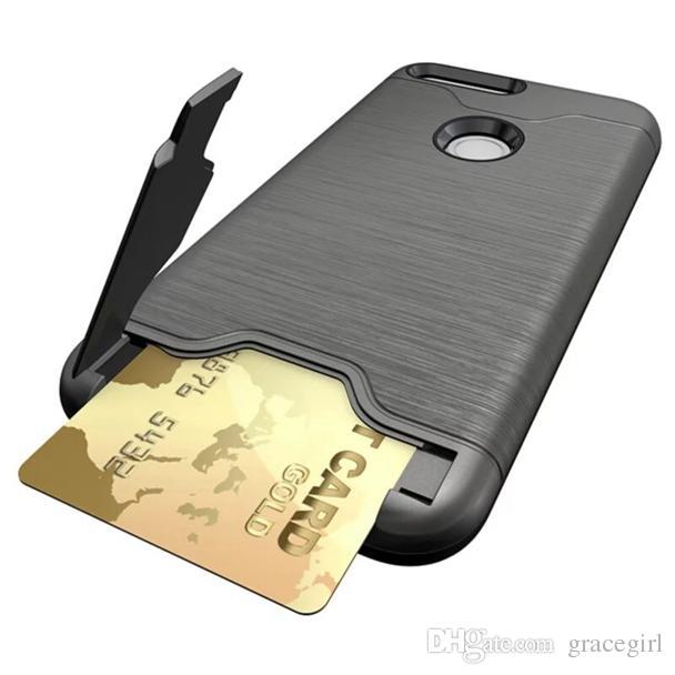 A prueba de golpes de la ranura para tarjeta de identificación TPU PC estuche rígido para Huawei P10 PLUS Google Pixel XL OnePlus 3 Soporte de lujo cubierta de la piel de la bolsa del teléfono