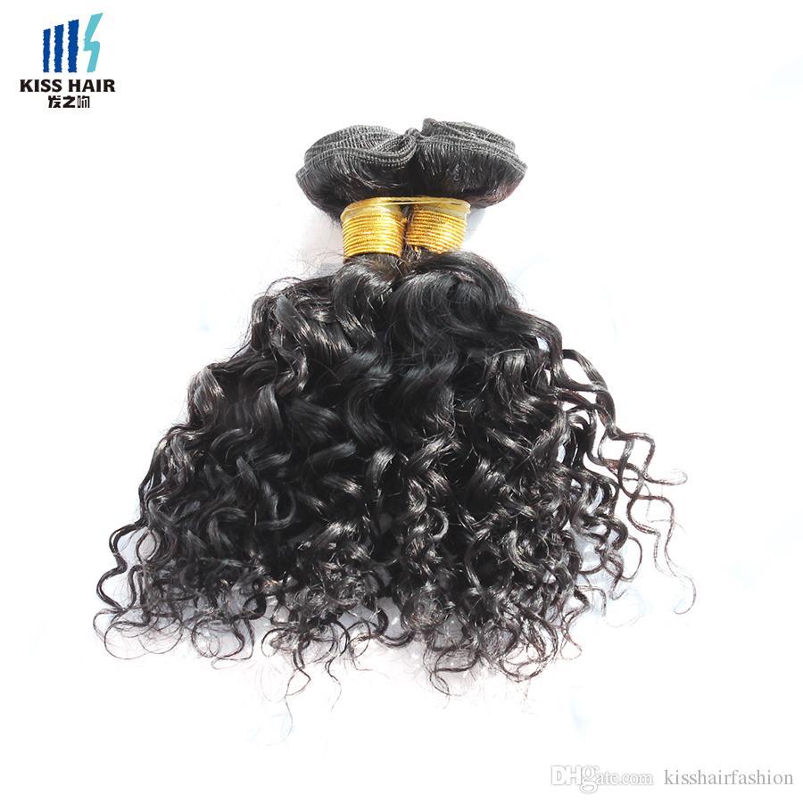 4 Unids Paquetes de Cabello Humano Onda de Agua Jerry Curl 50 g / pc Color 1B Indian Mongolian Curly Virgin Hair Weave Extensiones para Corto Estilo Bob